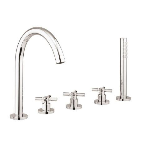 Crosswater Totti II Bath 5 Hole Set with Kit – Chrome