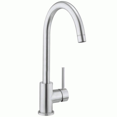 Crosswater Cucina Tropic Side Lever Brushed Stainless Steel Sink Mixer Tap - Brushed Stainless Steel