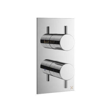 Crosswater MPRO Thermostatic 2 Way Dual Outlet Bath/Shower Valve Chrome