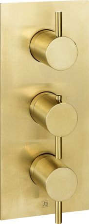 Just Taps VOS Brushed Brass Thermostatic Concealed 3 Outlet Shower Valve, Verticle