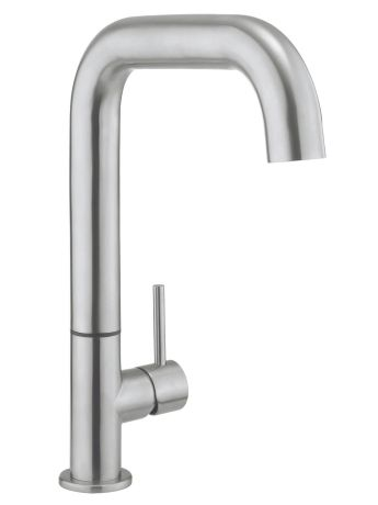 Crosswater Cucina Tube Stainless Steel Side Lever Kitchen Sink Mixer Tap - Brushed Stainless Steel
