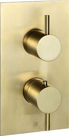 Just Taps VOS Brushed Brass  Thermostatic Concealed 1 Outlet Shower Valve
